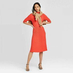 Womens Large Crewneck Flat Rib Dress Midi Orange